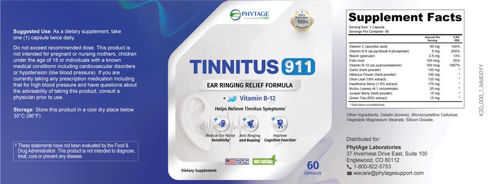 tinnitus 911 product label